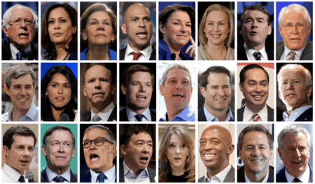 Twenty four 2020 Democratic presidential candidates are seen in a combination from file photos